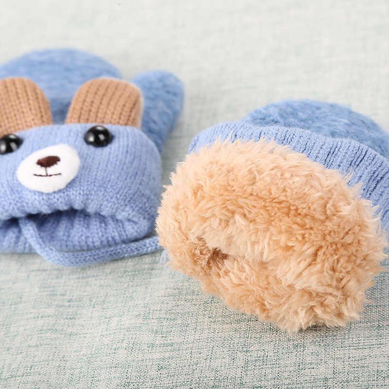 เด็กใหม่หูหมีผ้าฝ้าย Thicken ถุงมือเชือก Full Finger Warm ถักถุงมือฤดูหนาวถุงมือเด็ก Handschoenen เด็ก