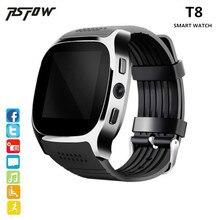 RsFow T8 Bluetooth Relógio Inteligente SIM Apoio TF Cartão Com Câmera relógio de Pulso esportes Leitor de Música Para O telefone Android PK M26 DZ09 A1