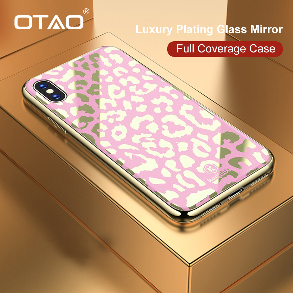 OTAO New Plating Glass Leopard Print Case For iPhone 7 8 Plus 6 6S Soft TPU Edge Case For iPhone X XS MAX XR Hard PC Cover Coque-in Fitted Cases from Cellphones & Telecommunications