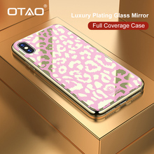 OTAO New Plating Glass Leopard Print Case For iPhone 7 8 Plus 6 6S Soft TPU Edge Case For iPhone X XS MAX XR Hard PC Cover Coque