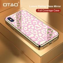 OTAO nueva carcasa de cristal con estampado de leopardo para iPhone 7 8 Plus 6 6S borde suave de TPU para iPhone X XS MAX XR cubierta dura de la PC Coque