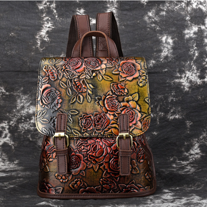 Genuine Leather Women Embossed Backpack Daypack First Layer Cowhide Rose Pattern Girls Knapsack School Bags Leisure