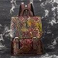 Echtes Leder Frauen Geprägte Rucksack Daypack Erste Schicht Rindsleder Rose Muster Mädchen Knapsack Schule Taschen Freizeit Rucksack Neue