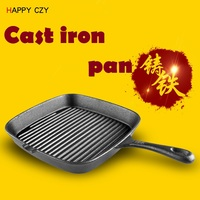 24CM Flat Bottom Cast Iron Steak Frying Pan Old Fashioned Manual No Coating Pan Frying Steak
