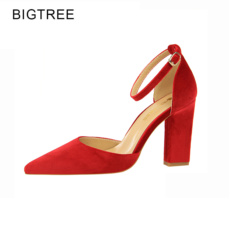 Red Buckle Strap Classics High Heels Pointed Toe Thick Heel Party Shoes Woman Orange Green Shallow Mouth Mujer Zapatos Size 40 new spring autumn ankle strap women shoes big size 32 46 fashion pointed toe buckle strap thick heel high heels zapatos mujer