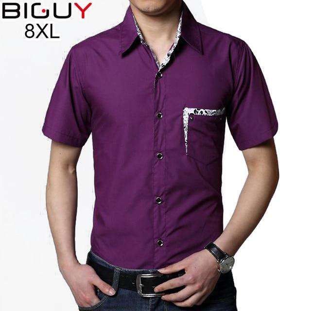 5xl 6xl 7xl 8xl Plus Size Men Summer Shirt Short Sleeve 2017 Mens Dress Shirts Black White Purple Camisa Social Masculina 1585