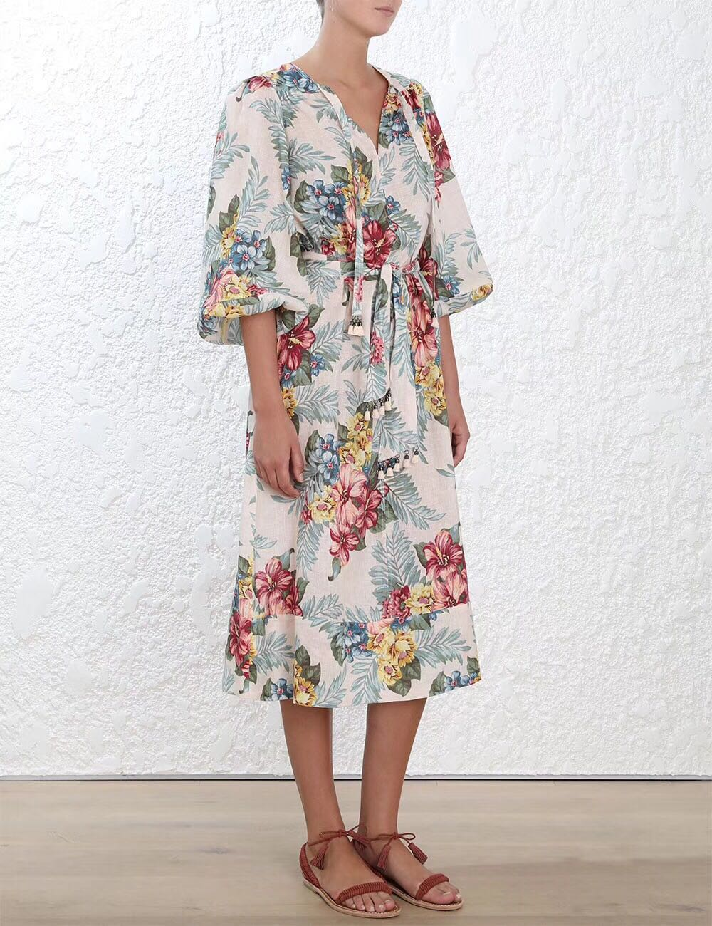 Midi As Linge Shirtdress Longues taille Cravate Glands Tie print Femmes Hibiscus Manches Fleurs Kali Floral Shown Robe Sqw6ZC