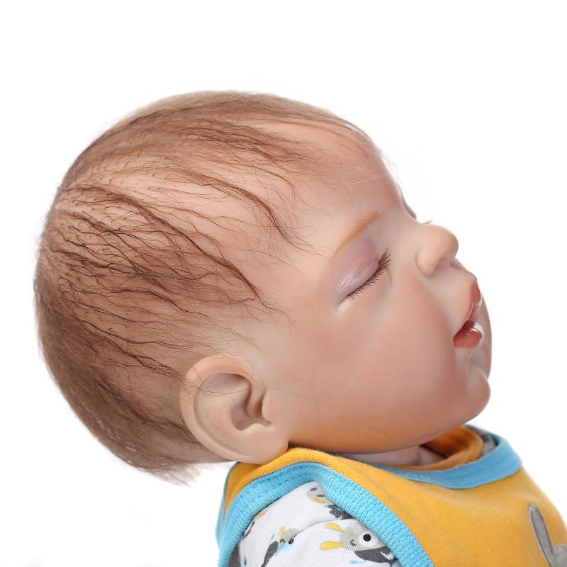 Rooted Brown Hair Finished Doll 23inch Realistic Baby Doll Boy Reborn Full Silicone Vinyl Reborn Newborn