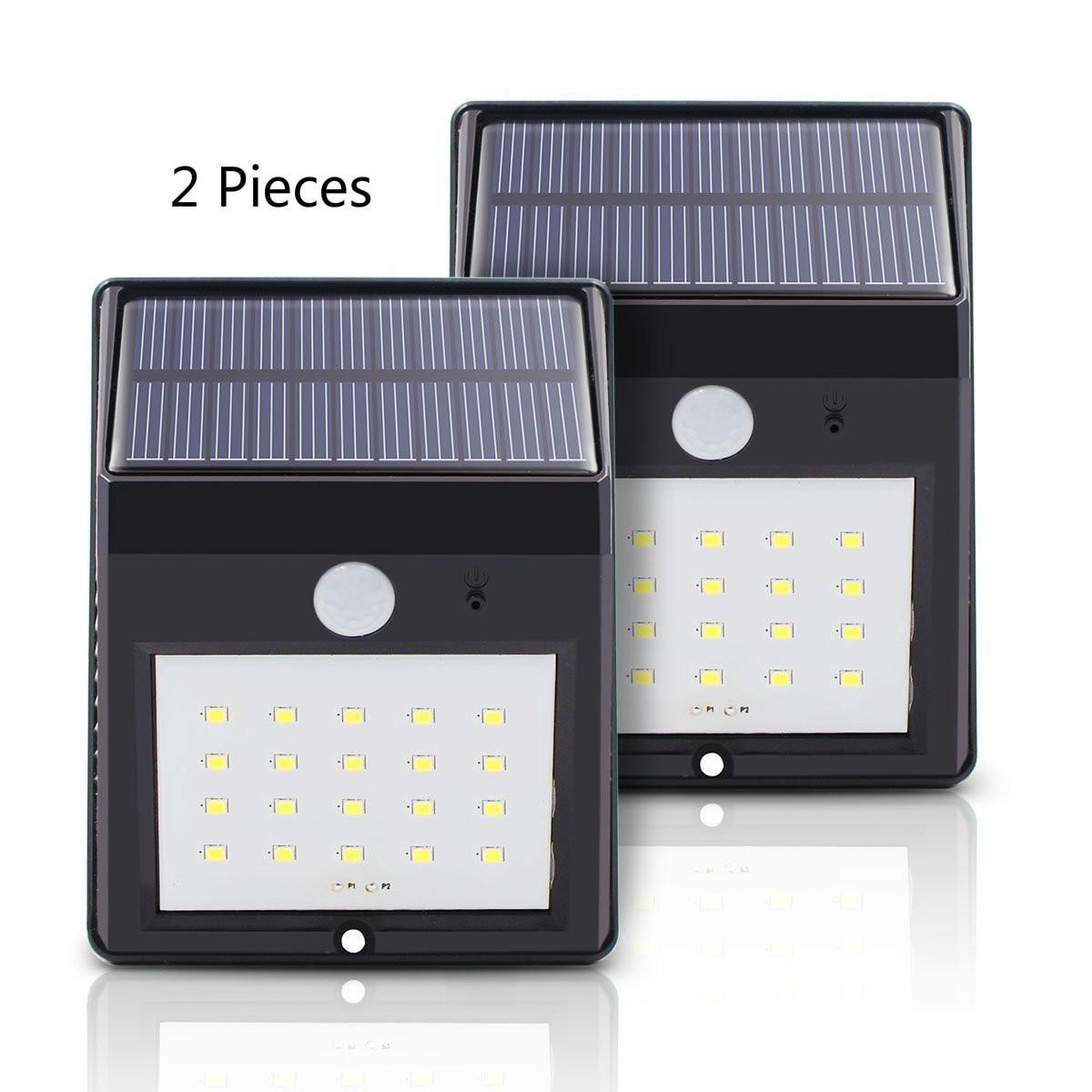 Solar Power Pir Lamp Outdoor 20 <font><b>LEDs</b></font> <font><b>Motion</b></font> Sensor Outdoor <font><b>Led</b></font> Solar Panel Lights Waterproof Garden <font><b>LED</b></font> Lighting 2 Pieces
