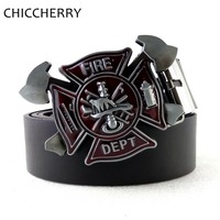 Cool Men S Black PU Leather Belt Firefighter Belt Buckle Fire Dept Buckles For Men Jeans