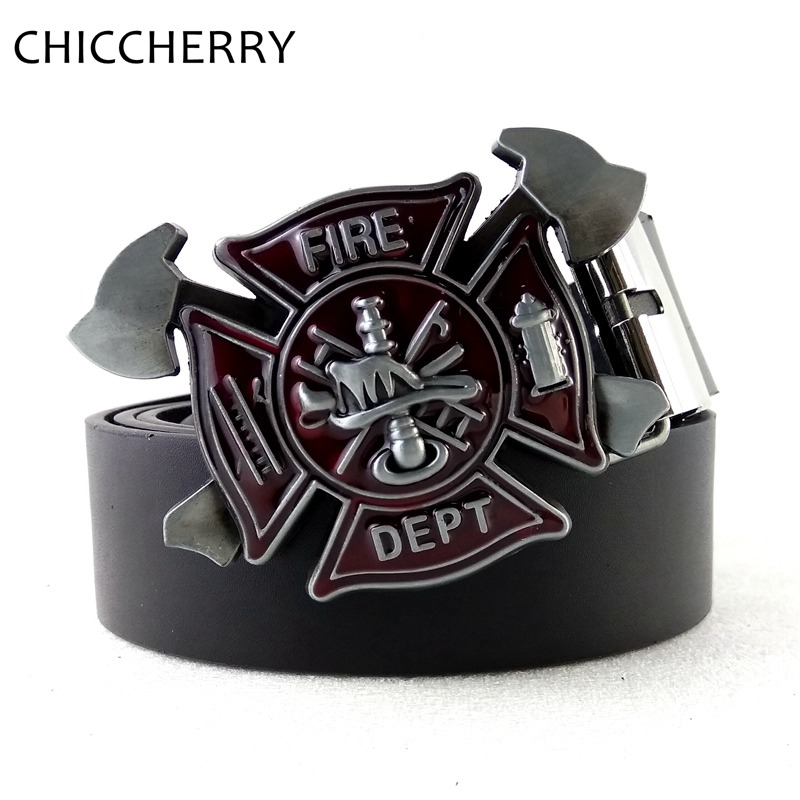 Cool Men's Black PU Leather Belt Firefighter Belt Buckle Fire Dept Buckles For Men Jeans Accessories Hebillas Cinturon Hombre