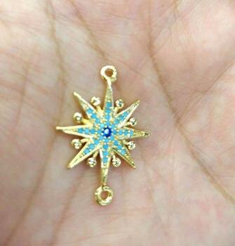 24pcs Blue Star Micro Pave Diamond bead 20mm Connector Evil eyes gunmetal Jewelry star Gold Silver Jewelry beads