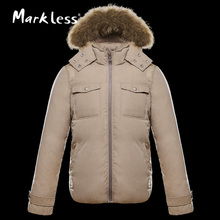 Markless 2016 Men Thick Down Jackets Brand Clothing With Raccoon Dog Fur Tim Hood Men's Casual Down Coats Male Winter Outerwear