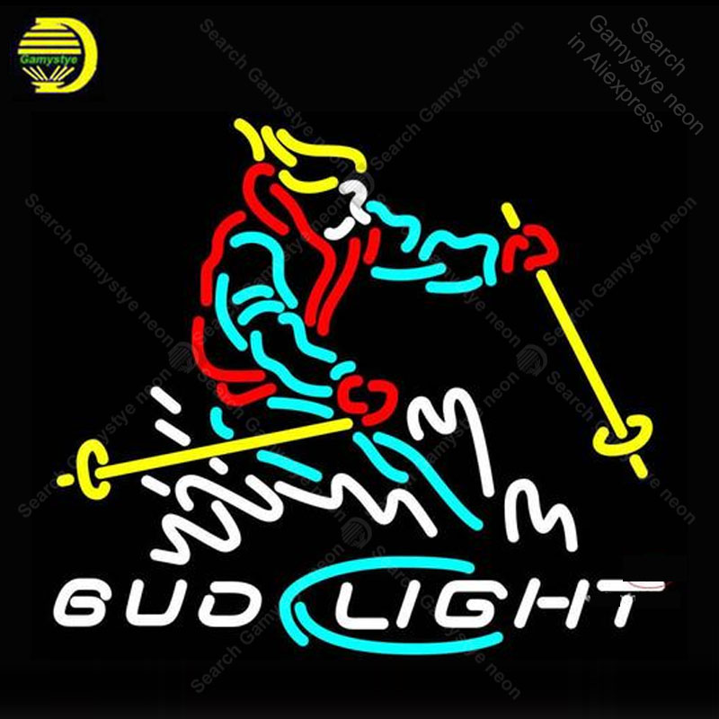 Neon Bulbs & Tubes Coors Light Skier Neon Sign Glass Tube Bulbs Light Bar Beer Club Icons Light Beer Room Signs Store Decoration Signboard Handmade Pure White And Translucent