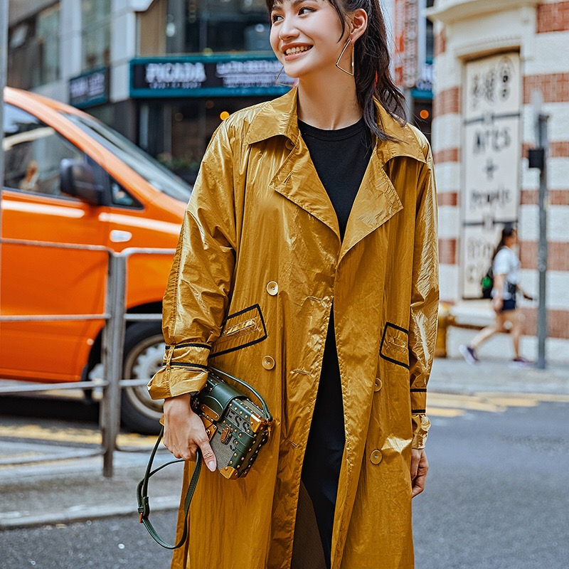 2019 Hiver Casual Manteau Survêtement Jaune D'origine Designer Vintage Et Étanche Automne Gloria Tranchée Grâce Longue Oversize rS5qr