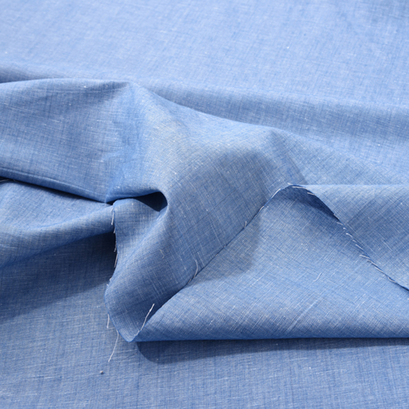 140CM Wide Blue Linen Fabric for Summer ShirtDress Clothes Jacket H542