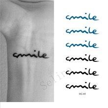Selina Store Waterproof Tattoos Smile Art Letters Black Tatoo Stickers Tattoos Finger Tattoo Tattoo Sticker For Hand Wrist