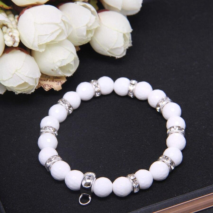 Купить белый браслет с бусинами thomas фирменным шармом переноской