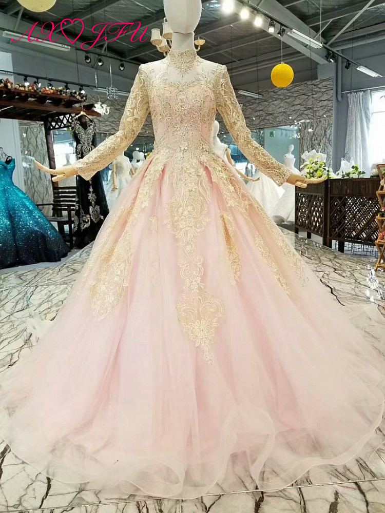 AXJUF New Korean princess pink lace beading   evening     Dress   lace flower luxury long sleeve   evening     dress   314745