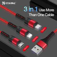 Coolreall 3 in 1 USB Cable for iPhone XR XS MAX X 8 7 6 Micro Charging Charger usb Type c cable Mobile Phone Cord