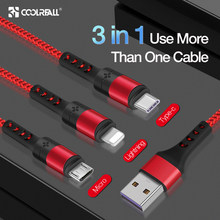 Coolreall 3 In 1 Kabel USB untuk iPhone XR X Max X 8 7 6 Micro Pengisian Kabel Charger USB tipe C Kabel Mobile Phone Charger Cord(China)