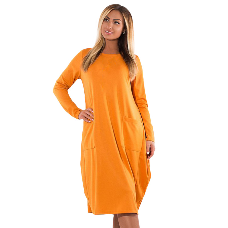 2018 Hot New Wome Dress Autumn Vestidos Knee Length Pockets Oversize Big Size 6XL Casual Solid Color Straight Full Sleeve Dress