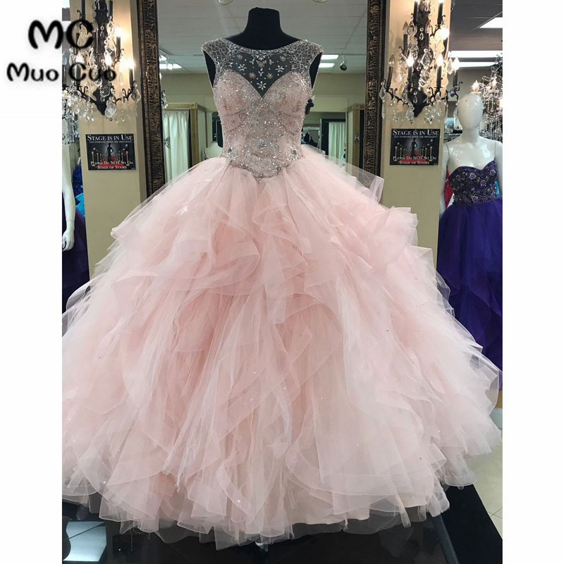 Ball-Gown Scoop-Neck Chapel Train Tulle Rhine Stone Beaded Prom Dresses