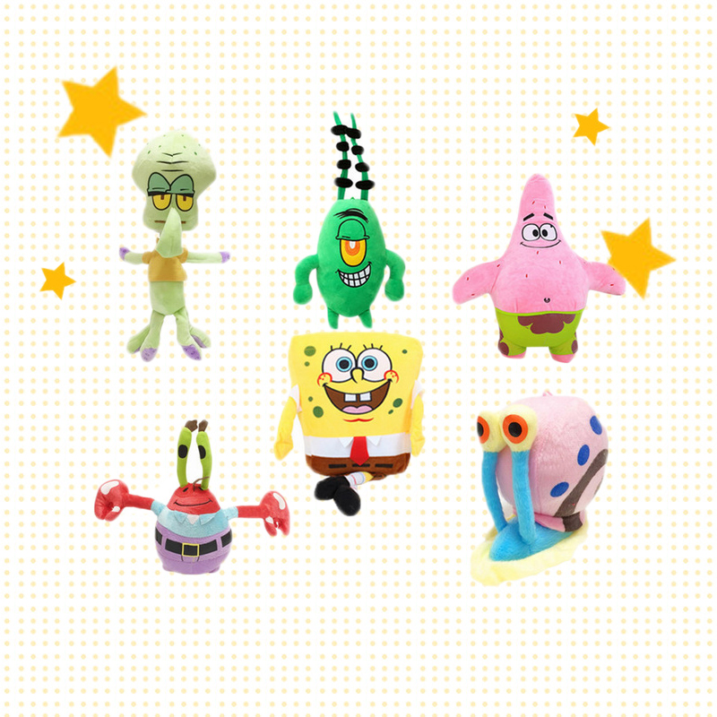 6pcs/set 20cm Super Cute Soft Plush Spongebob,Patrick star,Squidward,Tentacles,Mr. Krab,Sheldon Plankton Gary Toys Gift for Kids6pcs/set 20cm Super Cute Soft Plush Spongebob,Patrick star,Squidward,Tentacles,Mr. Krab,Sheldon Plankton Gary Toys Gift for Kids