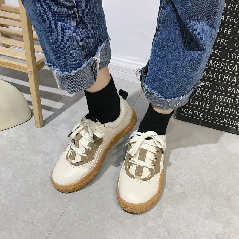2019 Women Sneakers Leather Hook Loop All Match Female Casual Shoes Concise Style Lady White Shoes Students New Fashion 35-39 21