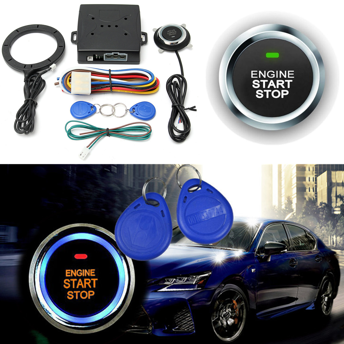 12V Car Engine Push Start Button Remote Control RFID Lock Ignition Starter Kit Hnad Brake Testing Interface Alarm Keyless Entry