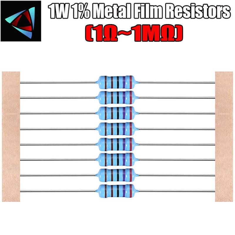 20pcs 1W 1R~2.2M 1% Metal Film Resistor 100R 220R 1K 1.5K 2.2K 4.7K 10K 22K 47K 100K 100 220 1K5 2K2 4K7 Ohm Resistance