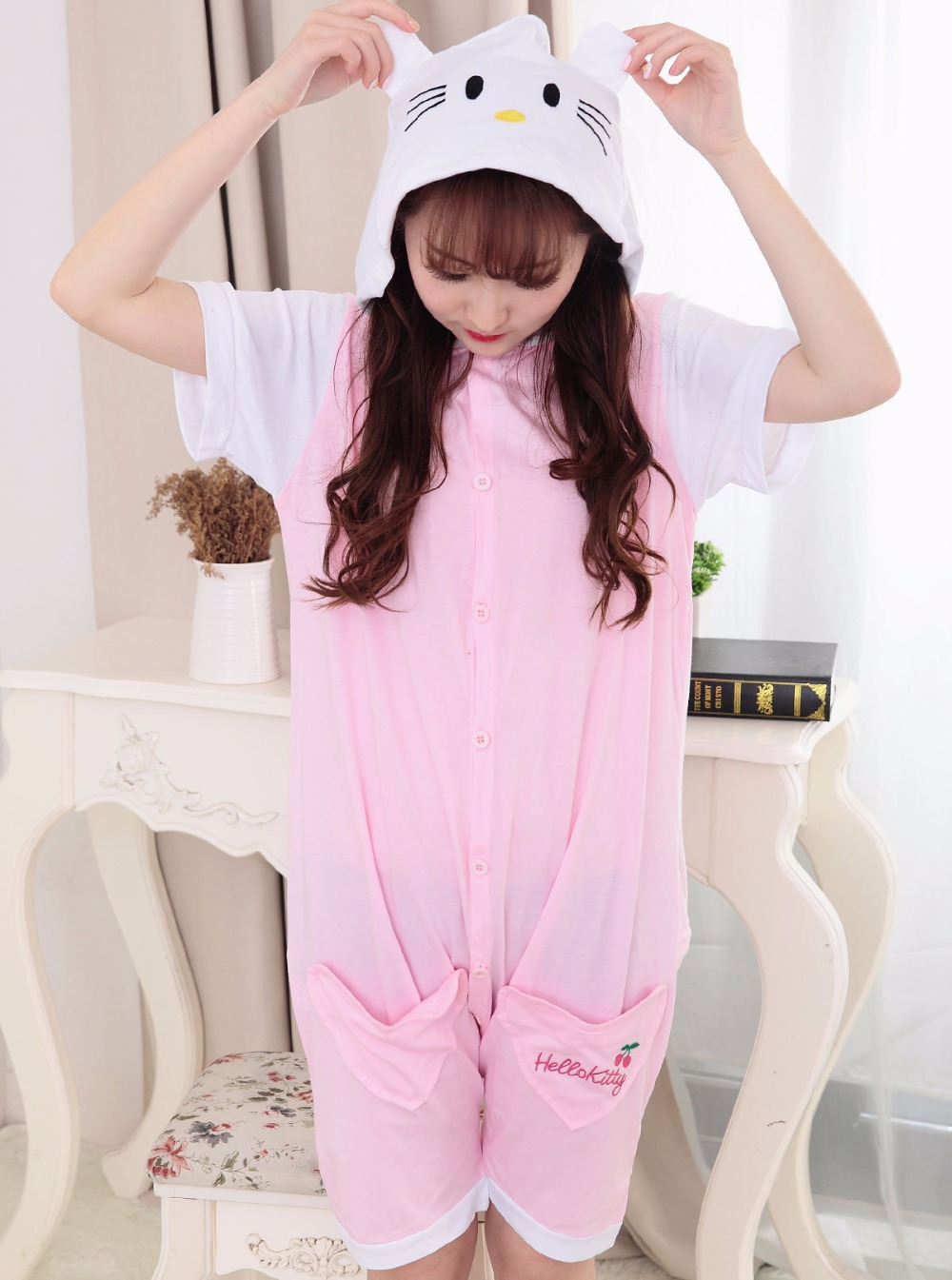 Summer Girl Women Pink Cat Onesies Sleepwear Cool Lovely Tracksuit Short Sleeved Pyjamas Tracksuit All in one Cat Costume