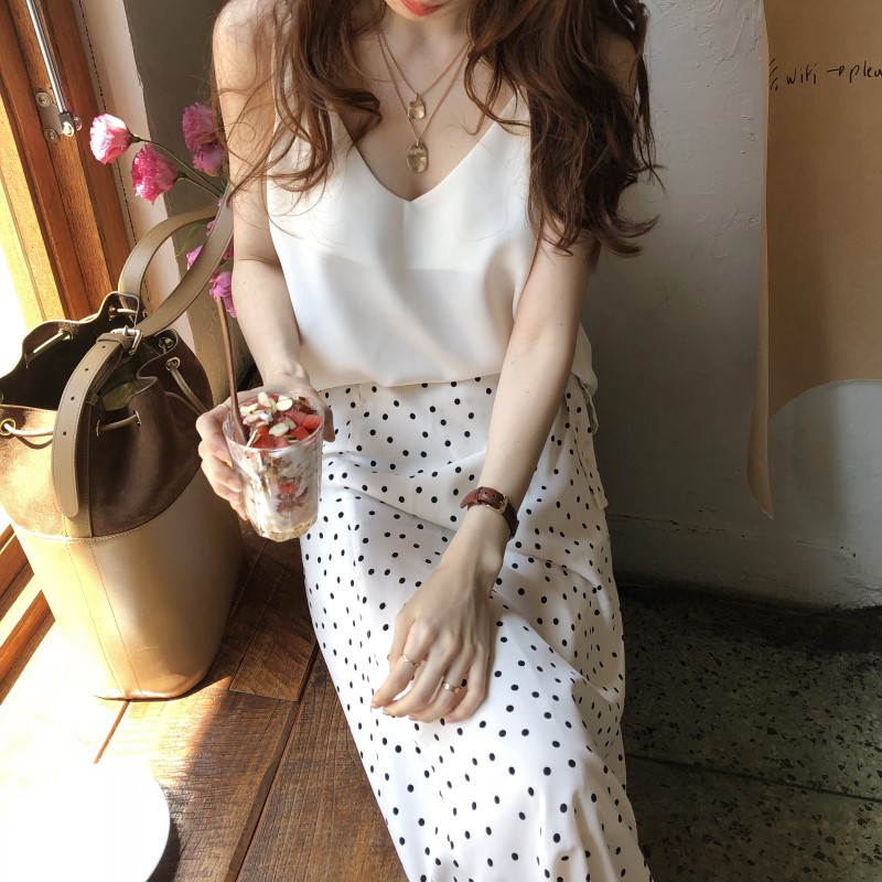 Women Summer White Long Polka Dot Skirt Elegant A-line High Waist Casual Lacing Wrap Skirts