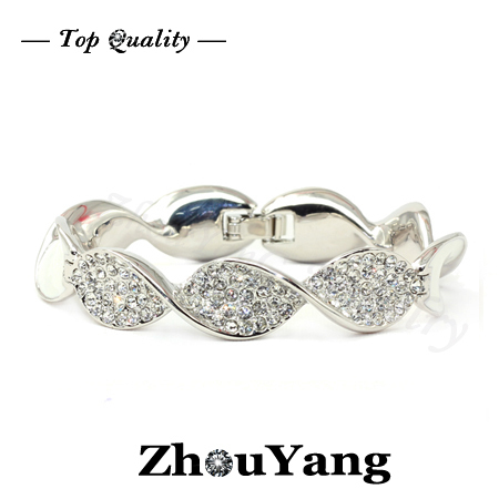 ZYB041 Elegance Noble Style  Platinum Plated Bangle Jewelry Made with Genuine  Austrian Crystals Wholesale