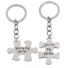 2 Pcs Set Puzzle You re My Person Couple font b Keychain b font For Lovers