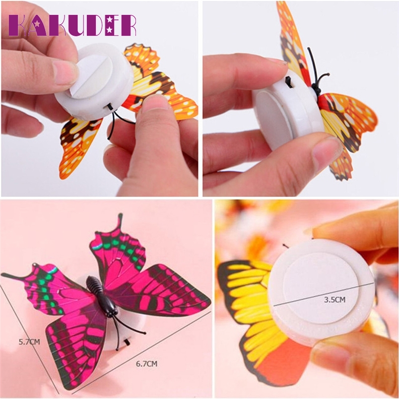 Kakuder 10 Pcs Wall Stickers Butterfly LED Lights Wall Stickers 3D House Decoration*25 Gift Drop