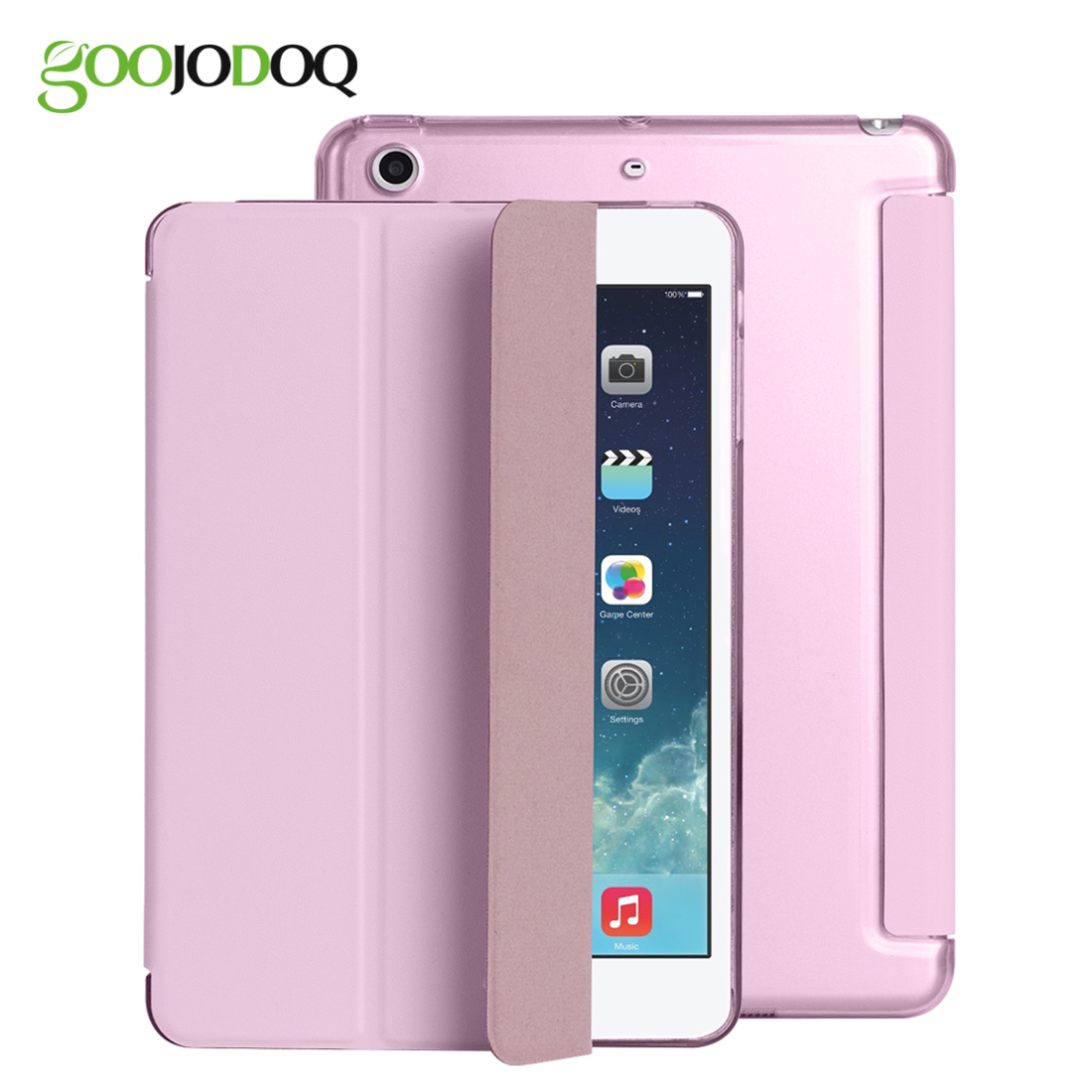 GOOJODOQ Smart Case Cover For Apple iPad Mini 4 Translucent PC Back Ultra Slim Fit PU Leather Shell Protector Stand the tablet вентилятор titan tfd 9225gt12z