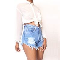 Witsources Short Jeans Woman Summer New Irregular High Waist Casual Denim Shorts with Hole and Sandblast SP2104