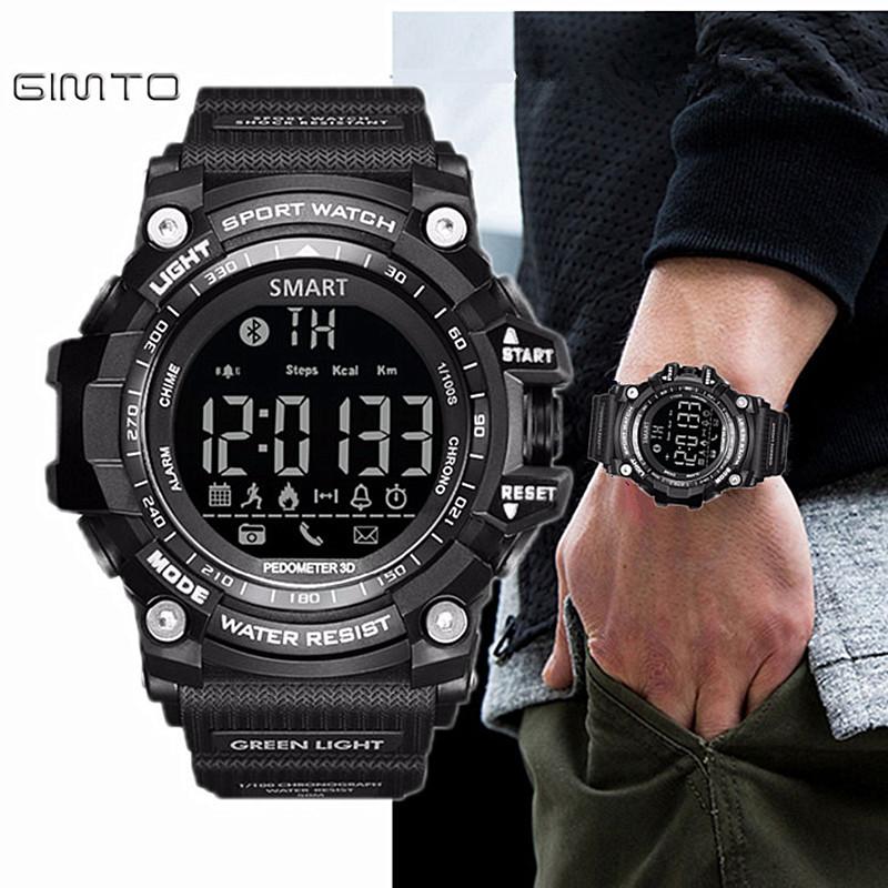 Prix pour Gimto Marque LED En Plein Air Électronique intelligent Montre-Bracelet Étanche Sport Numérique Smart Watch Podomètre Montre-Bracelet Hommes