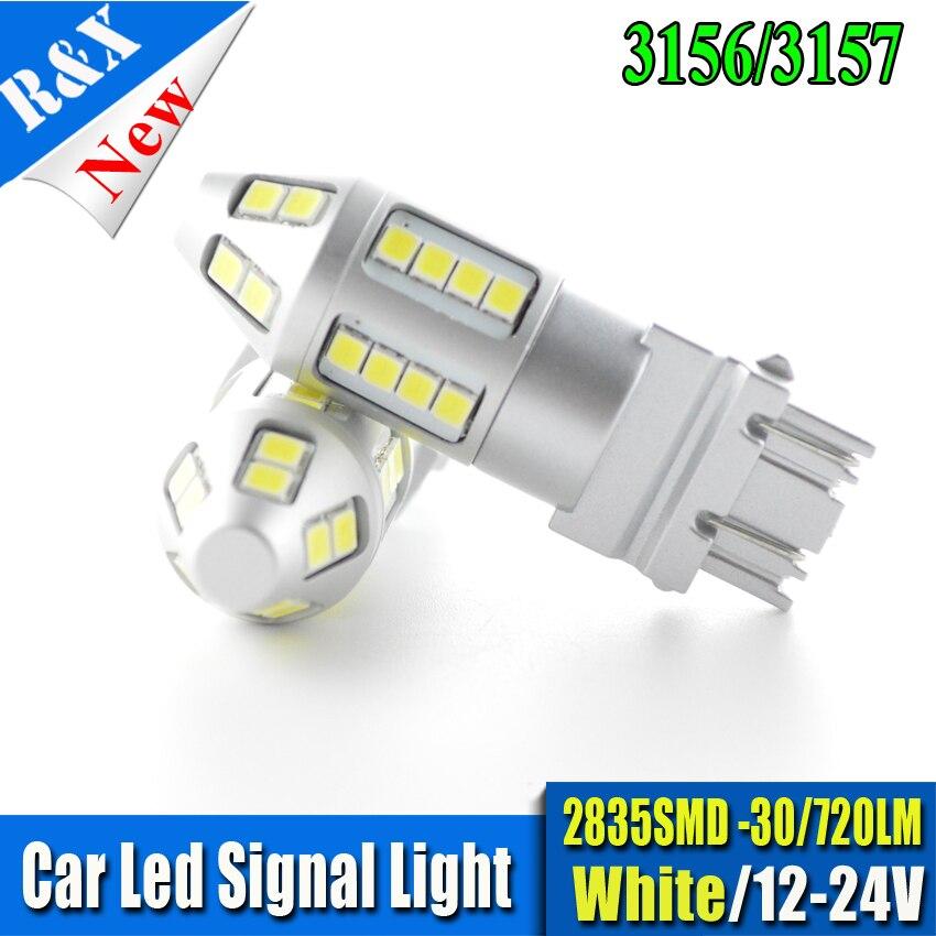 2x High Power T25 3157 2835 30SMD 720LM LED Bulbs Turn Signal Brake Bulbs Brake-up Fog Lamps DRL White/Yellow DC12-24V