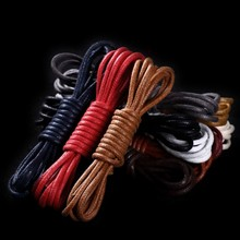 1Pair Waxed Cotton Round Shoe laces Leather Shoes lace Waterproof ShoeLaces Men Martin Boots Shoelace Shoestring(China)