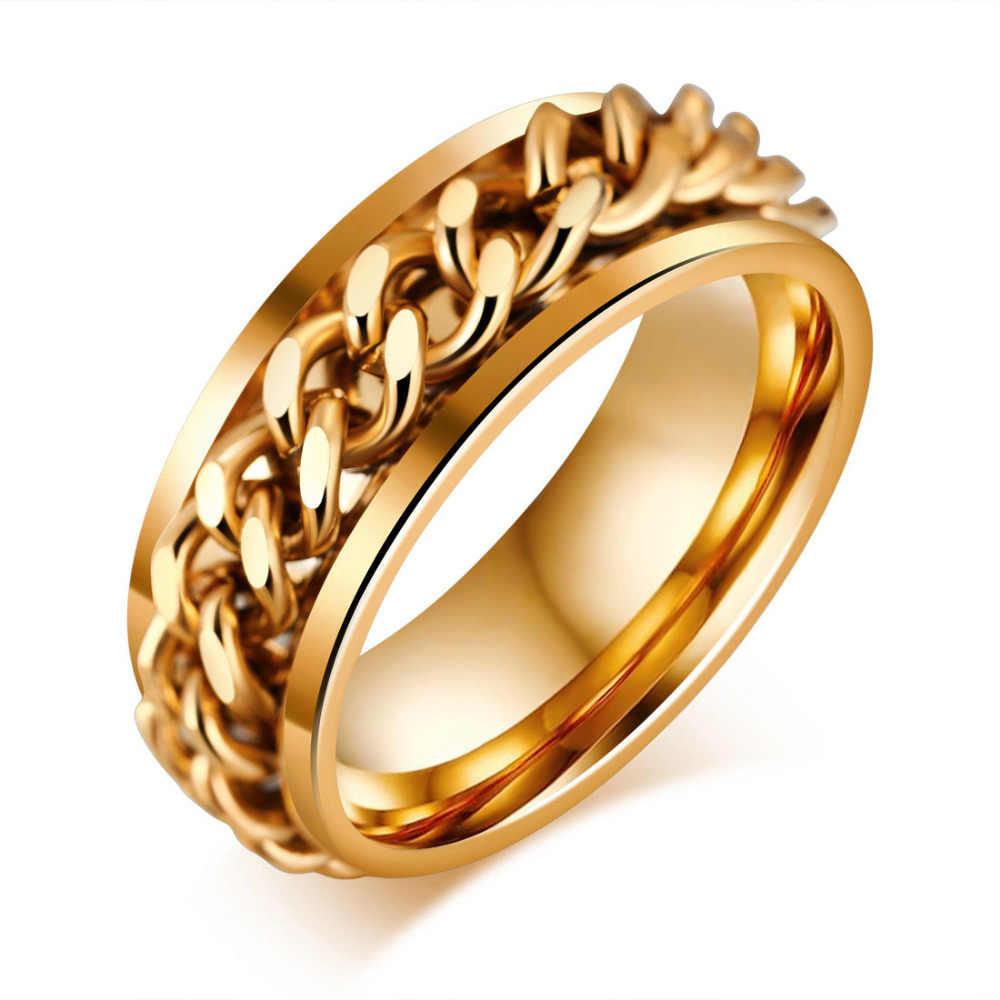 Rock Punk męska pierścień ze stali nierdzewnej 8mm pierścienie czarny/złoty/srebrny łańcuch pierścienie usa rozmiar 7 -11 obrączki ślubne Anillos Hombre biżuteria