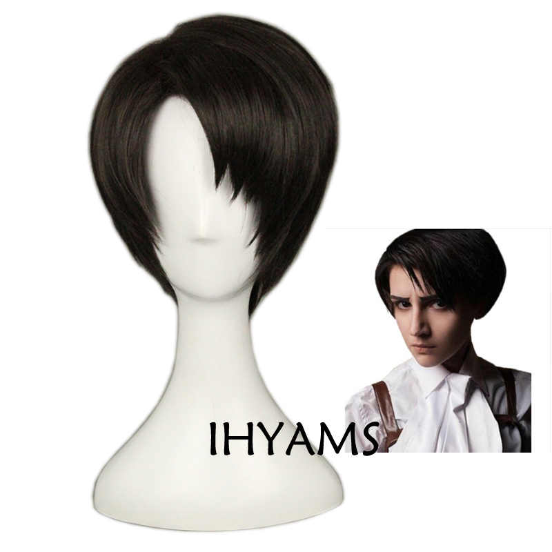Attack on Titan Levi Ackerman Rivai Short Brown Black Synthetic Hair Heat Resistant Cosplay Anime Wig + Track + Wig Cap