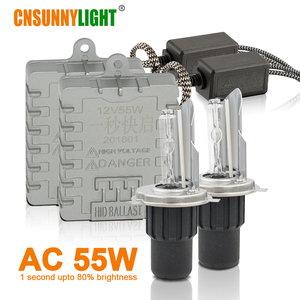 CNSUNNYLIGHT Fast Start 55W H4 Hi/Lo H4-3 9003 HB2 HID Xenon Headlight High/Low 4300K 6000K 8000K Super Bright Auto Headlamp candino c4602 4