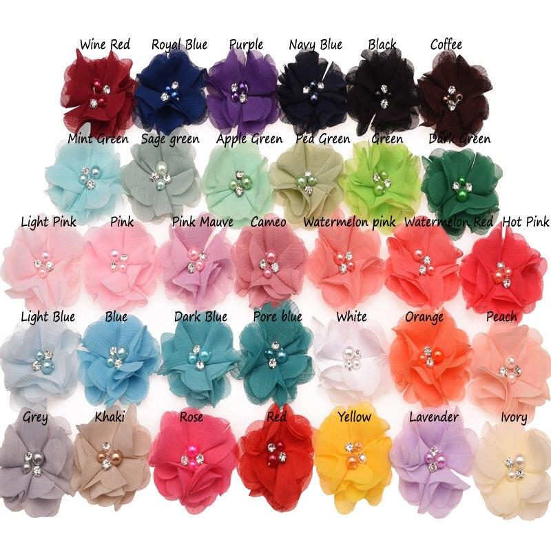 10 шт. шифоновый цветок с жемчугом ручное шитье бутик жемчуг и стразы 6 см цветок для волос 33 цвета аксессуар для волос без зажима