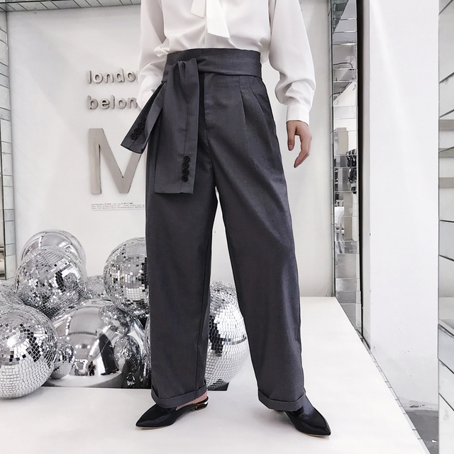Men Fashion Show Wide Leg Casual Pant Male High Waist Belt Loose