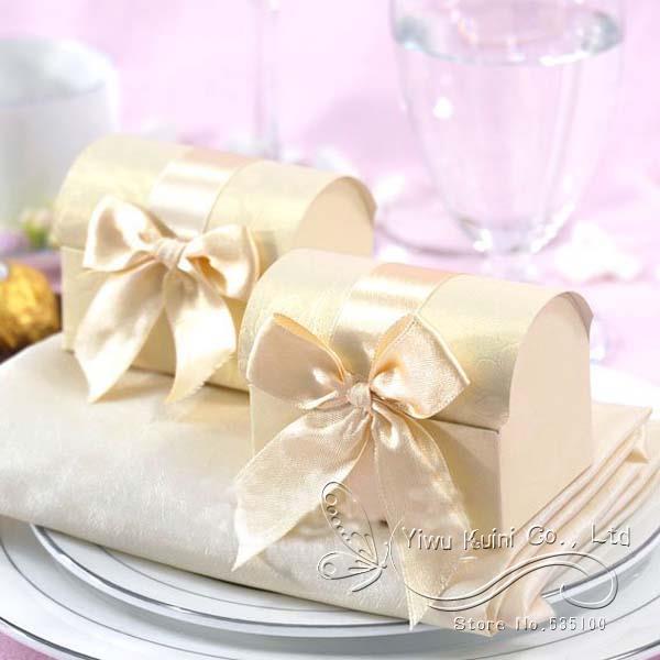 50pcs Beige Favor Boxes Popular Wedding Treasure Chest Favor Boxes, Bridal Shower Chocolate Box (bl-501003gd)
