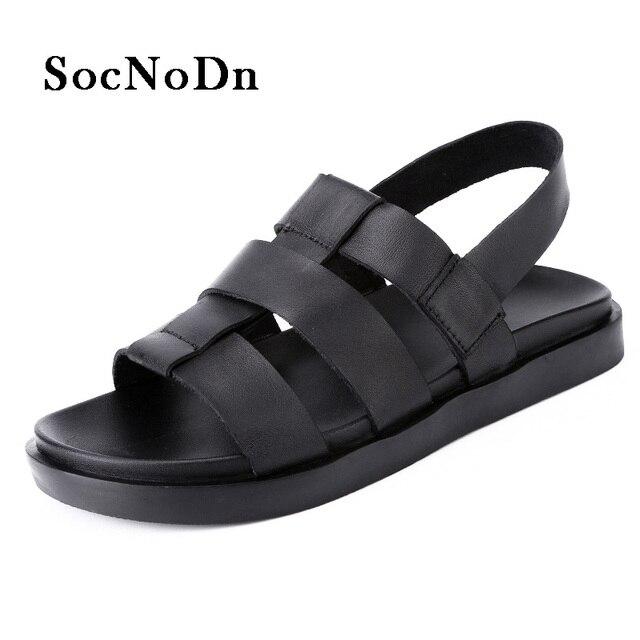 7314c8eb062 SocNoDn Mens Gladiator Sandals Fashion 2018 Summer Shoes Genuine Leather  Man Casual Sandals Breathable Walking Footwear
