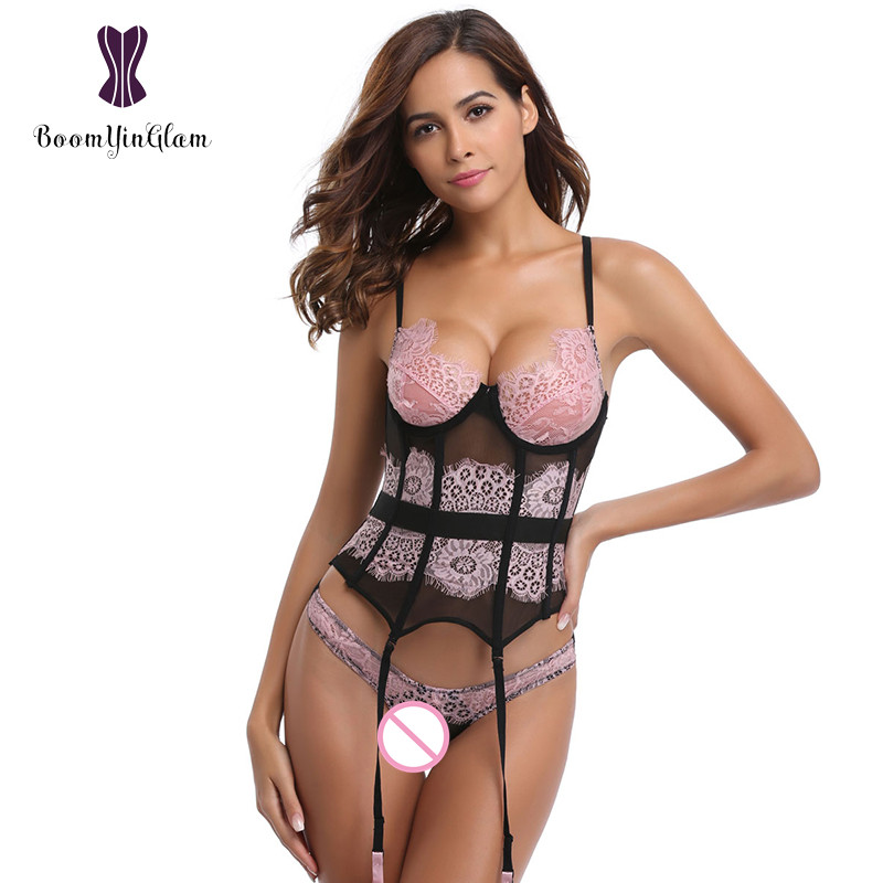7c0203a6ce6 Free shipping adjustable straps pink sexy corsets   bustiers transparent  lace women lingerie basque corset with g string 1705  -in Bustiers   Corsets  from ...