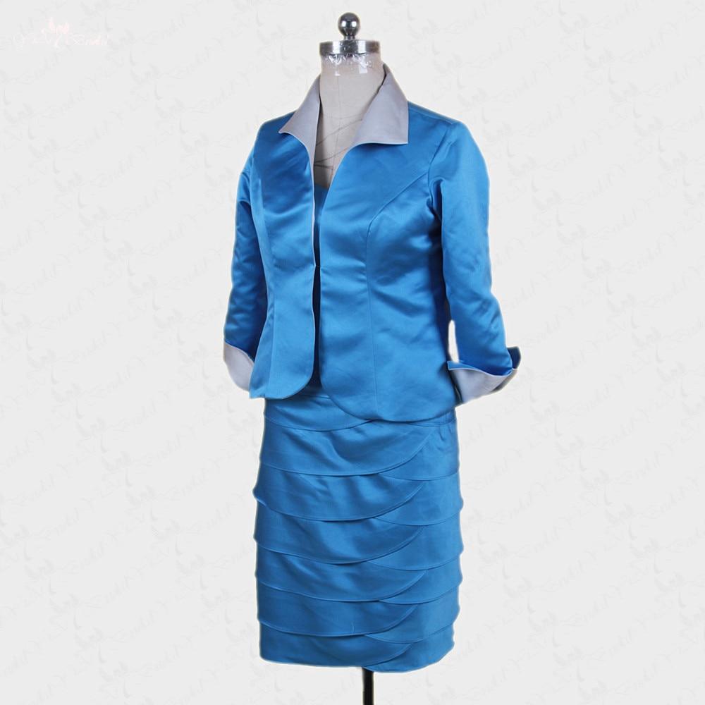 RSE260 Elegant Knee Length Satin Coat Dress Bandage Skirt Silver And ...